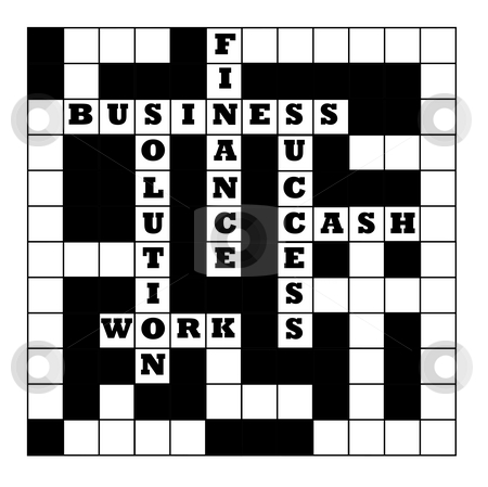 Business crossword stock photo, Business crossword puzzle partially filled with motivational words, isolated on white background. by Martin Crowdy