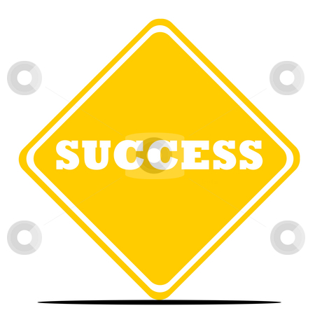 Success road sign stock photo, Success road sign isolated on white background. by Martin Crowdy
