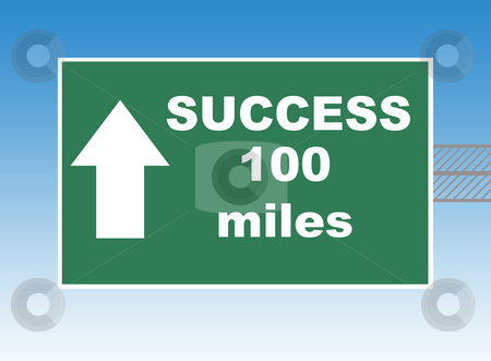 Success Highway sign stock photo, Highway or road sign pointing way to success in 100 miles, blue sky background. by Martin Crowdy