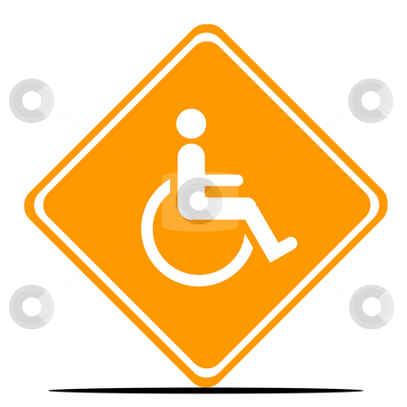 Disabled Road Sign stock photo, Disabled person road sign isolated on white background. by Martin Crowdy