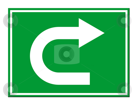 U turn sign stock photo, Green directional arrow U turn sign isolated on white background. by Martin Crowdy