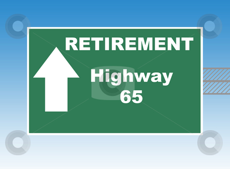 Retirement Highway 65 stock photo, Retirement highway 65 directional road sign, blue sky background. by Martin Crowdy