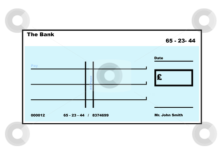 Blank English Cheque stock photo, Blank English Cheque illustration with copy space, isolated on white background. by Martin Crowdy