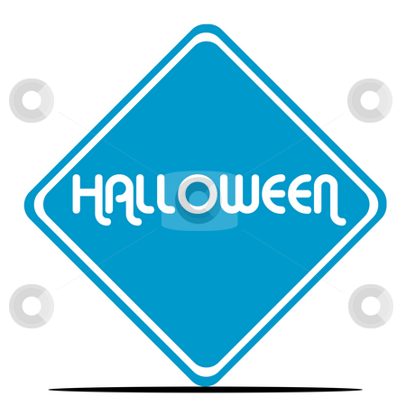 Halloween sign stock photo, Halloween sign in blue diamond shaped sign, isolated on white background. by Martin Crowdy