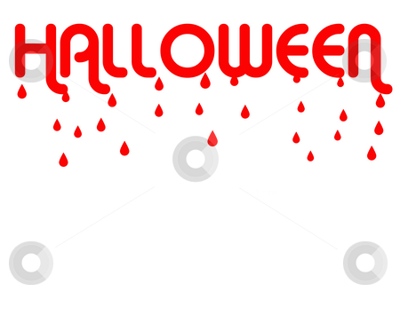 Halloween dripping blood stock photo, Red word Halloween dripping blood, isolated on white background with copy space. by Martin Crowdy