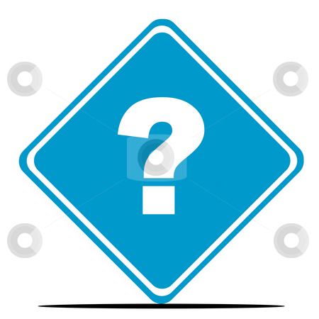 Question mark sign stock photo, Blue question mark diamond shaped road sign isolated on white background. by Martin Crowdy
