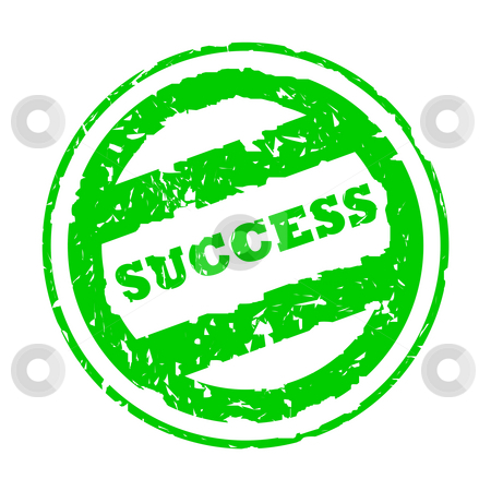 Used green success stamp stock photo, Used green success business stamp, isolated on white background. by Martin Crowdy