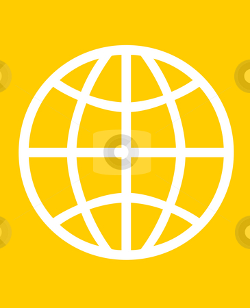 Global world symbol stock photo, Global symbol of world, isolated on orange background. by Martin Crowdy