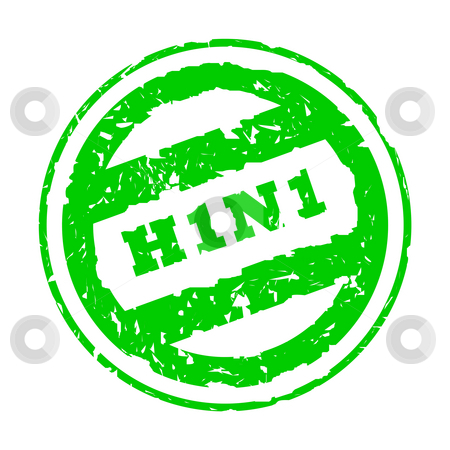 Swine flu stock photo, H1N1 Swine Flu stamp, isolated on white background. by Martin Crowdy