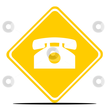 Telephone sign stock photo, Retro telephone road sign isolated on white background. by Martin Crowdy