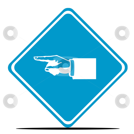 Pointing businessman sign stock photo, Pointing businessman hand diamond shaped road sign isolated on white background. by Martin Crowdy