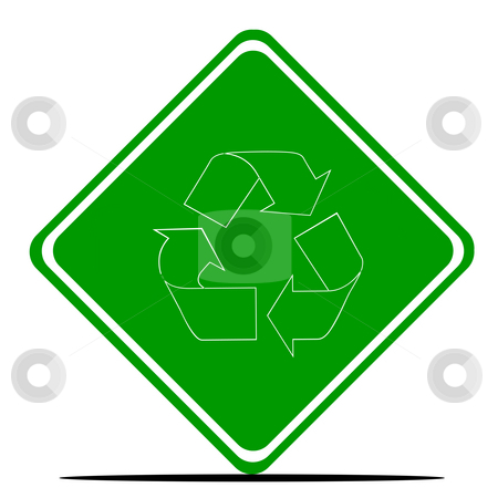 Recycling symbol on road sign stock photo, Recycling symbol on road sign isolated on white background. by Martin Crowdy
