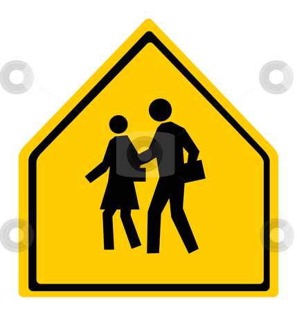 School warning crossing sign stock photo, School warning or crossing sign isolated on white background. by Martin Crowdy