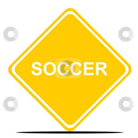 Soccer road sign stock photo, Football or soccer sign isolated on white background. by Martin Crowdy
