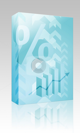 Percent symbol illustration box package stock photo, Software package box Abstract financial success illustration with percent symbol by Kheng Guan Toh