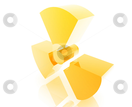 Radiation warning symbol stock photo, Radiation warning symbol illustration glossy metal style isolated by Kheng Guan Toh