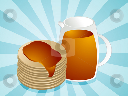 Stack of pancakes stock photo, Stack of pancakes, with jug of syrup by Kheng Guan Toh