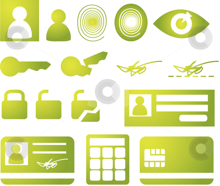 Security icons stock photo, Security and biomtetric icon set, clipart illustration by Kheng Guan Toh