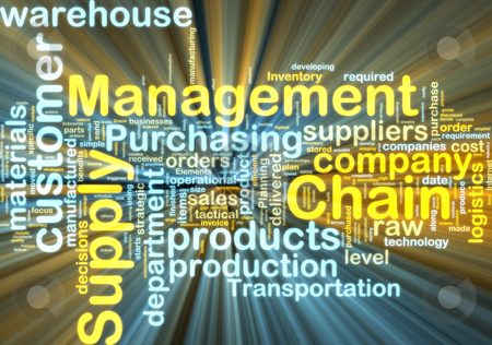 Supply chain management wordcloud glowing stock photo, Word cloud tags concept illustration of supply chain management glowing light effect by Kheng Guan Toh