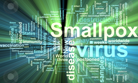 Smallpox word cloud glowing stock photo, Word cloud concept illustration of  smallpox virus glowing light effect by Kheng Guan Toh