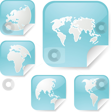 World map stickers stock photo, World map icons on square sticker shapes by Kheng Guan Toh