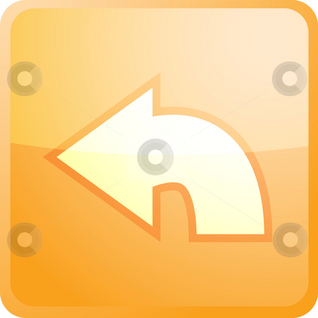 Return navigation icon stock photo, Return navigation icon glossy button, square shape by Kheng Guan Toh