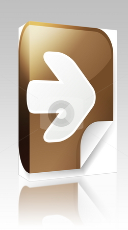 Right arrow sticker box package stock photo, Software package box Navigation icon sticker with arrow pointing right by Kheng Guan Toh