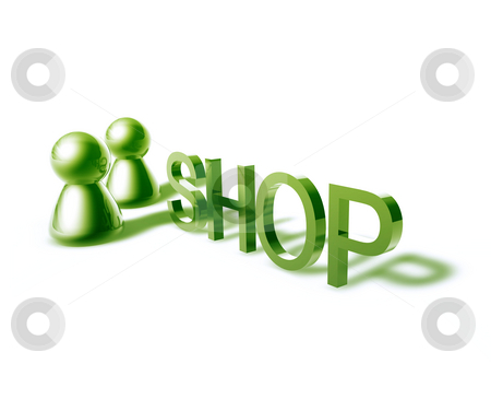 Shop word graphic stock photo, Shop online word graphic, with stylized people icons by Kheng Guan Toh