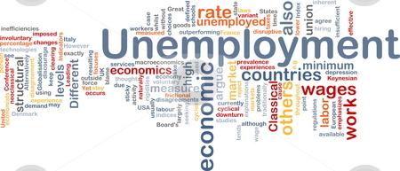 Unemployment word cloud stock photo, Word cloud concept illustration of unemployment work by Kheng Guan Toh