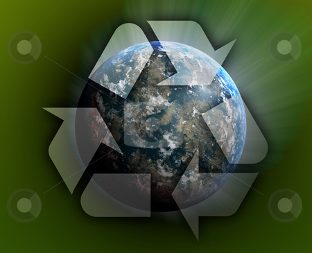 Recycling planet earth stock photo, Recycling eco symbol illustration of three arrows over planet earth by Kheng Guan Toh