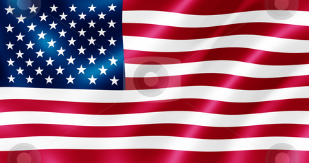 USA flag blowing in the wind illustration. stock photo, USA flag blowing in the wind illustration. by Stephen Rees