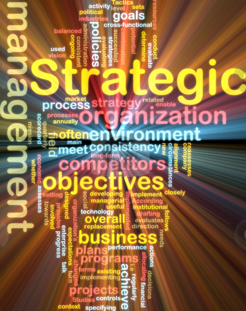 Strategic management wordcloud glowing stock photo, Word cloud tags concept illustration of strategic management glowing light effect by Kheng Guan Toh