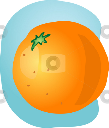 Whole orange illustration stock photo, Sketch of whole fresh orange, fruit illustration by Kheng Guan Toh