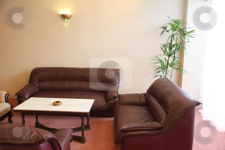 Zen contemporary sofas stock photo, Elegant brown leather sofa asian zen contemporary style by Kheng Guan Toh