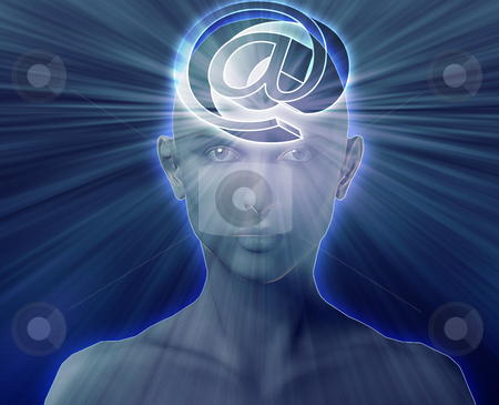 Thinking abount internet stock photo, Woman thinking about at internet symbol, floating on her head by Kheng Guan Toh