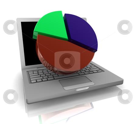 Online finance pie chart stock photo, Computer online finance accounting with pie chart  and notebook by Kheng Guan Toh