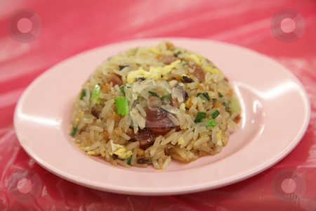 Round fried rice stock photo, Asian fried sticky rice in round shape by Kheng Guan Toh