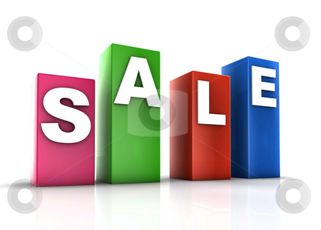 Plastic cubes sale stock photo, Glossy plastic metal cubes spelling out SALE by Kheng Guan Toh