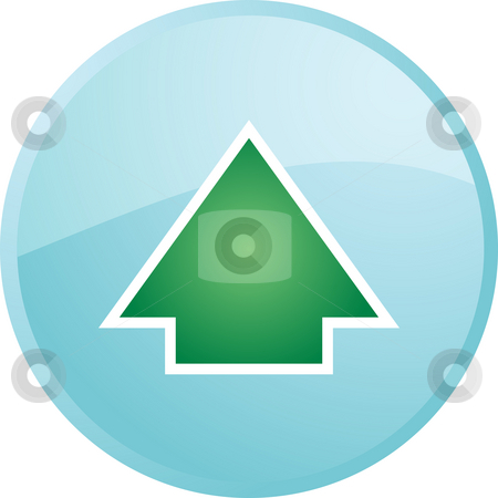 Up navigation icon stock photo, Up navigation icon glossy button, round shape by Kheng Guan Toh