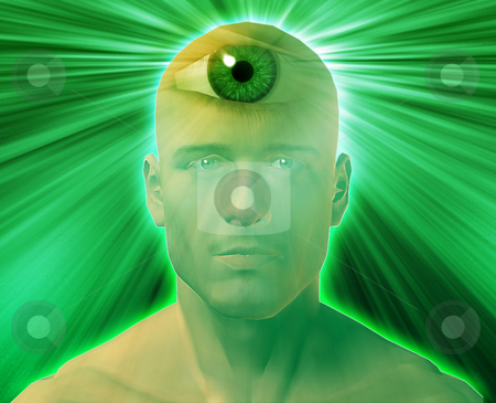 Third eye Man stock photo, Man with third eye, psychic supernatural senses by Kheng Guan Toh