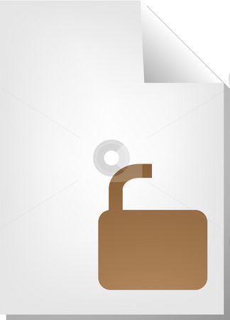 Unlocked document icon stock photo, Unlocked security document file type illustration clipart by Kheng Guan Toh