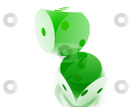 Rolling dice stock photo, Rolling dice illustration, glossy metal chrome style by Kheng Guan Toh