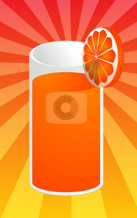 Orange juice illustration stock photo, Glass of orange juice with orange slice, illustration by Kheng Guan Toh
