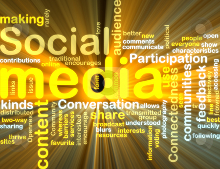 Social media wordcloud glowing stock photo, Word cloud tags concept illustration of social media glowing light effect by Kheng Guan Toh