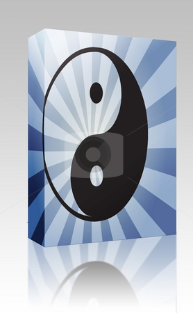 Yin Yang symbol box package stock photo, Software package box Yin yang symbol oriental representation of duality by Kheng Guan Toh