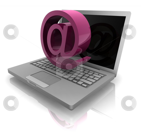 Online computer notebook stock photo, Computer online internet illustration with at symbol and notebook by Kheng Guan Toh
