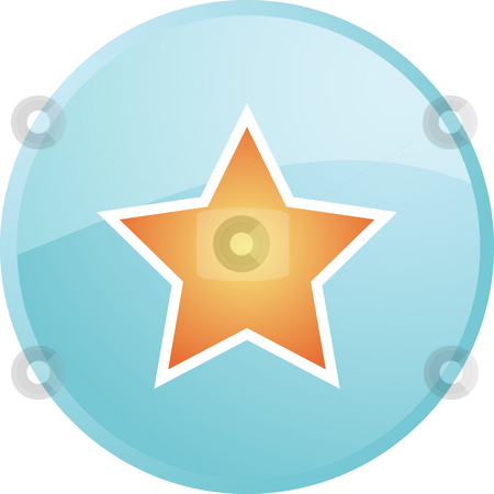 Star navigation icon stock photo, Star navigation icon glossy button, round shape by Kheng Guan Toh