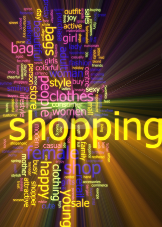 Shopping word cloud glowing stock photo, Word cloud concept illustration of consumer shopping glowing light effect by Kheng Guan Toh