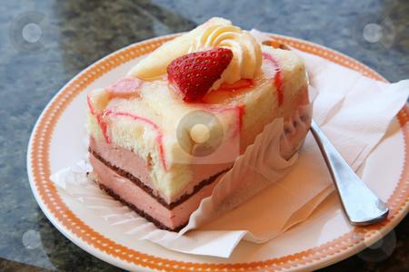 Rectangle strawberry cake stock photo, Layered strawberry cake rectangle cut, decorated with fruit by Kheng Guan Toh