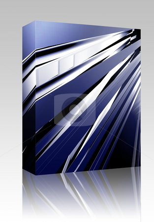 Panels abstract box package stock photo, Software package box Abstract geometric illustration, smooth chrome flying panels by Kheng Guan Toh